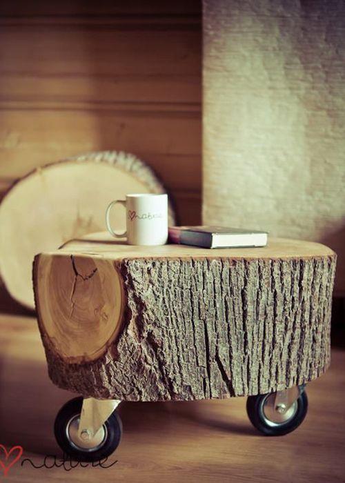 table de chevet rondin de bois - je fouine, tu fouines, il fouine