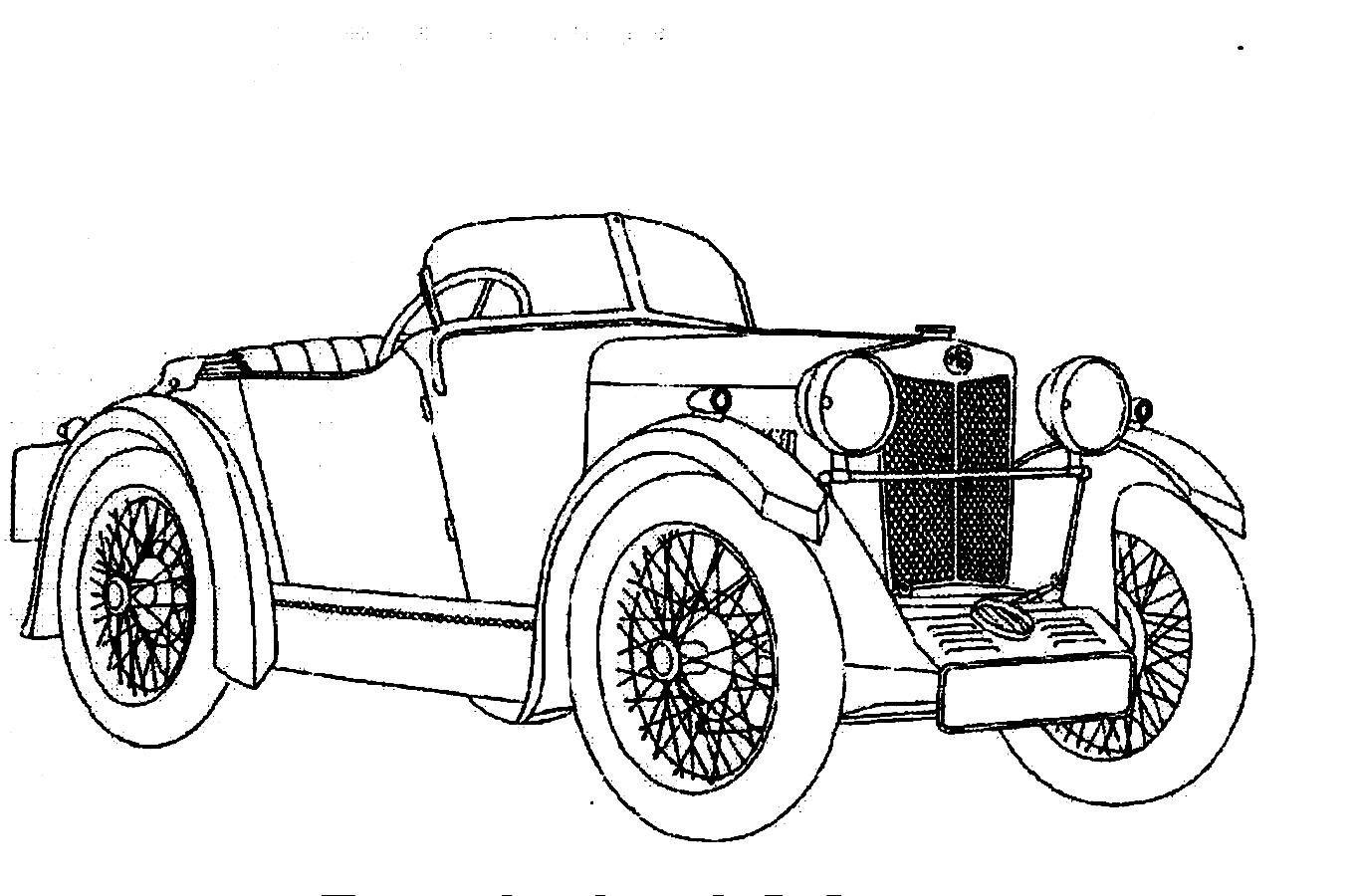 Antique cars coloring pages - Classic Car Always Having Unique Front Part Design Coloring Page
