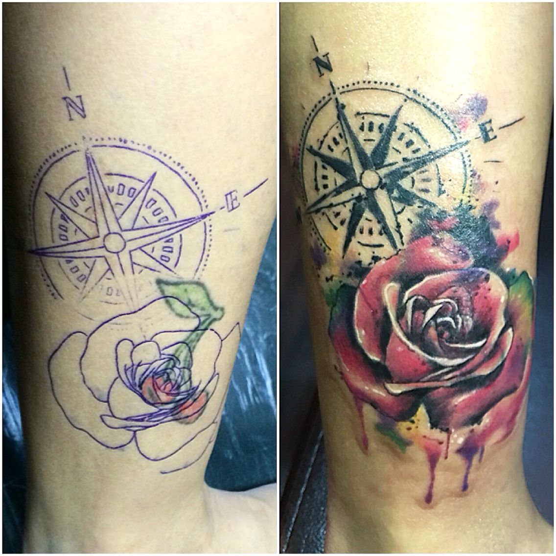 Watercolor Compass Rose Tattoo Compass Rose Tattoo Compas Tattoo Tattoos