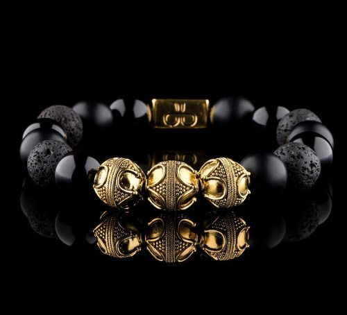 The elegant Premium Gold Mixed Black Bracelet from...
