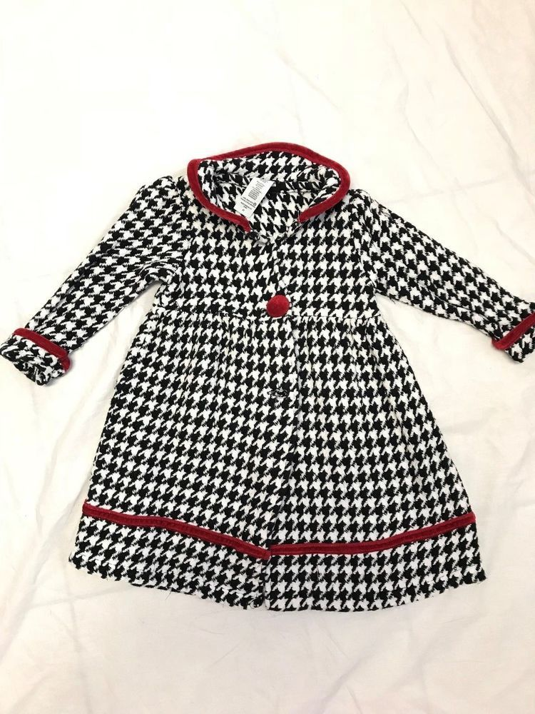 7531e2ad0 Holiday edition Houndstooth little girls jacket coat with Red ...