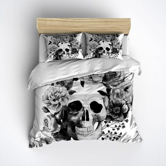 Fleece Black and White Watercolor Style Skull Bedding ...