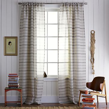 An Upbeat Take On Rustic Country Airy Striped Window Panels From