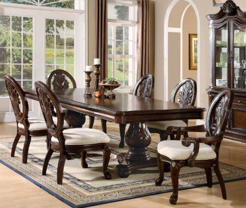 7 Pcs Traditional Formal Dining Set In Deep Rich Cherry Finish Prepossessing Traditional Dining Room Sets Cherry Decorating Inspiration