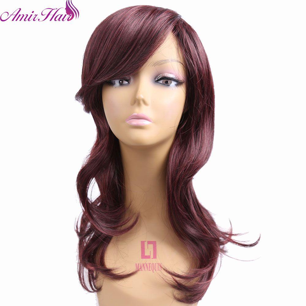 Amir hair sexy fashion burg long wave ladyus synthetic hair wig no