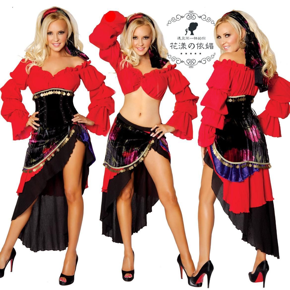 SPANISH GIRL RED STAGE COSTUMES HALLOWEEN CARNIVAL CHRISTMAS ...