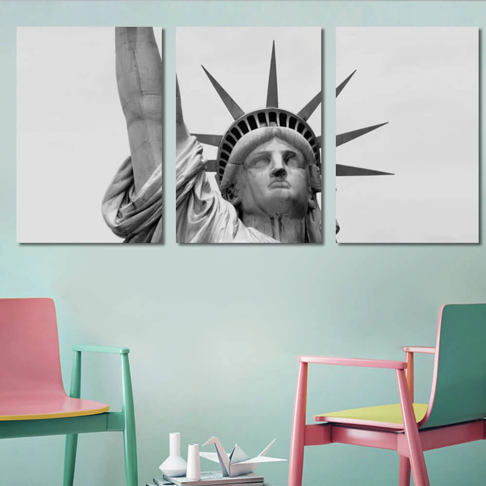 Closeup Of The Statue Of Liberty Canvas X3 Panels Avail Wall White Canvas Art Canvas Art Wall Decor Tree Canvas