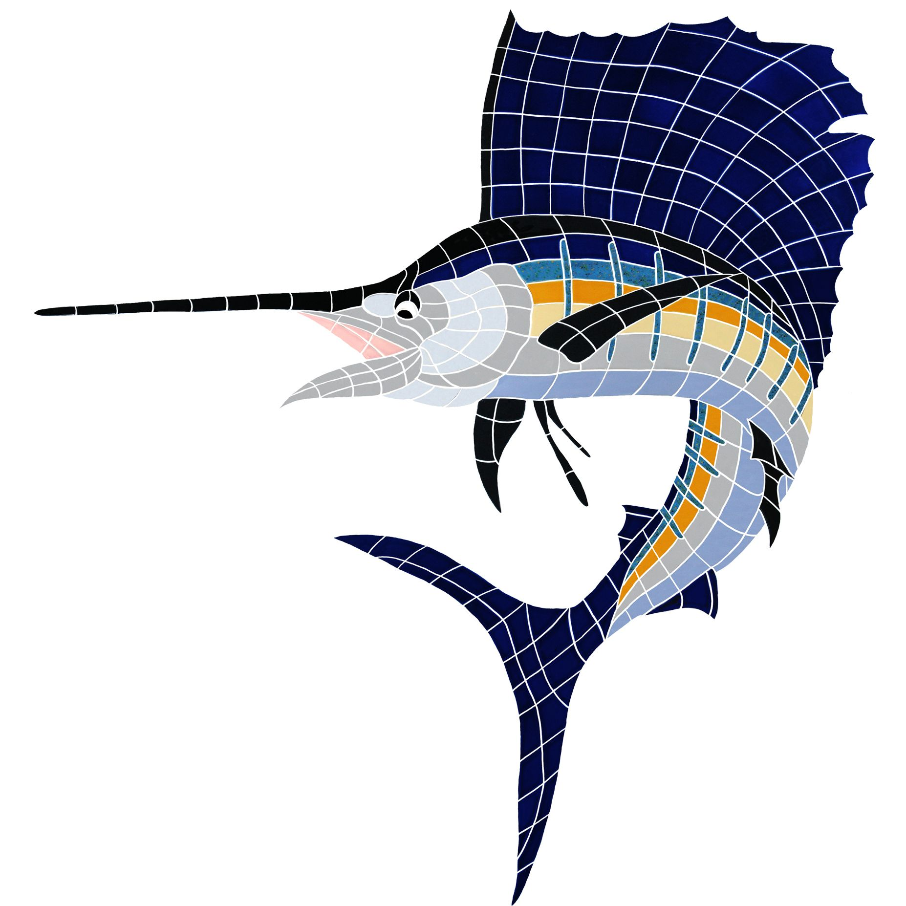 Trophy Sailfish Ceramic Mosaic Swimming Pool Mural 53 X 50 Pool