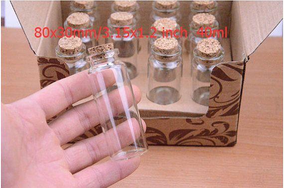 50pcs Mini Glass Bottles 40ml Small Glass Vials Bottles Large Jars