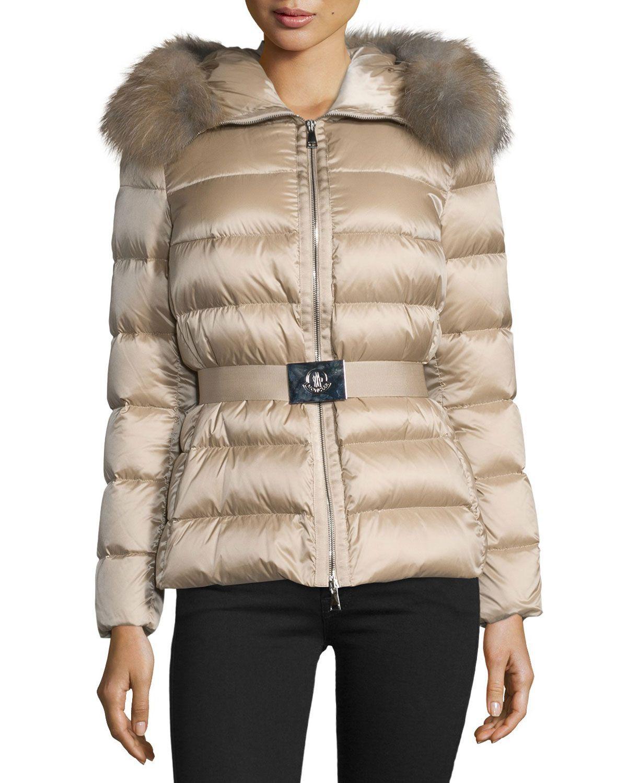 Tatie Hooded Fur-Trim Puffer Jacket a22b6fea1