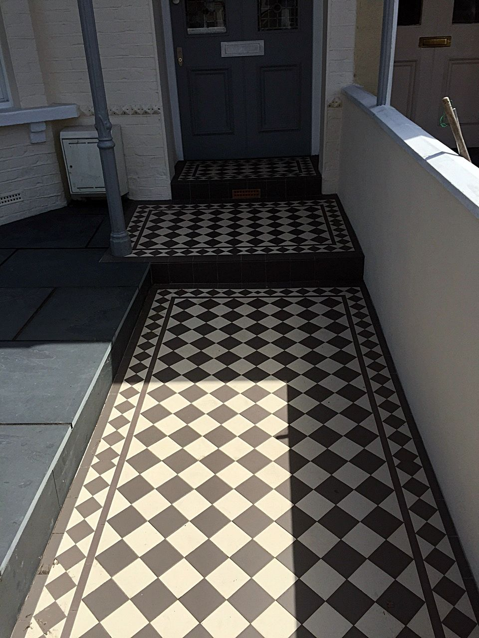 Grey And Black Victorian Mosaic Tile Path Fulham Chelsea Putney Wandsworth Clapham Dulwich London