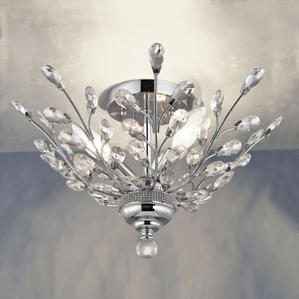 Crystal Semi-Flushmount Light in Chrome Finish | 2253-26 | Destination Lighting
