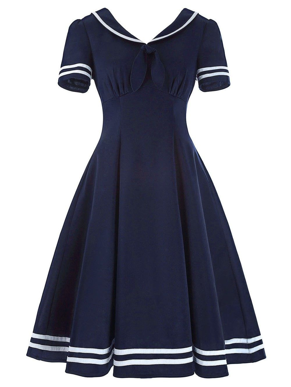 Vintage Sailor Collar High Waist Dress Sailor Dress Short Sleeve Dresses Vintage Dresses
