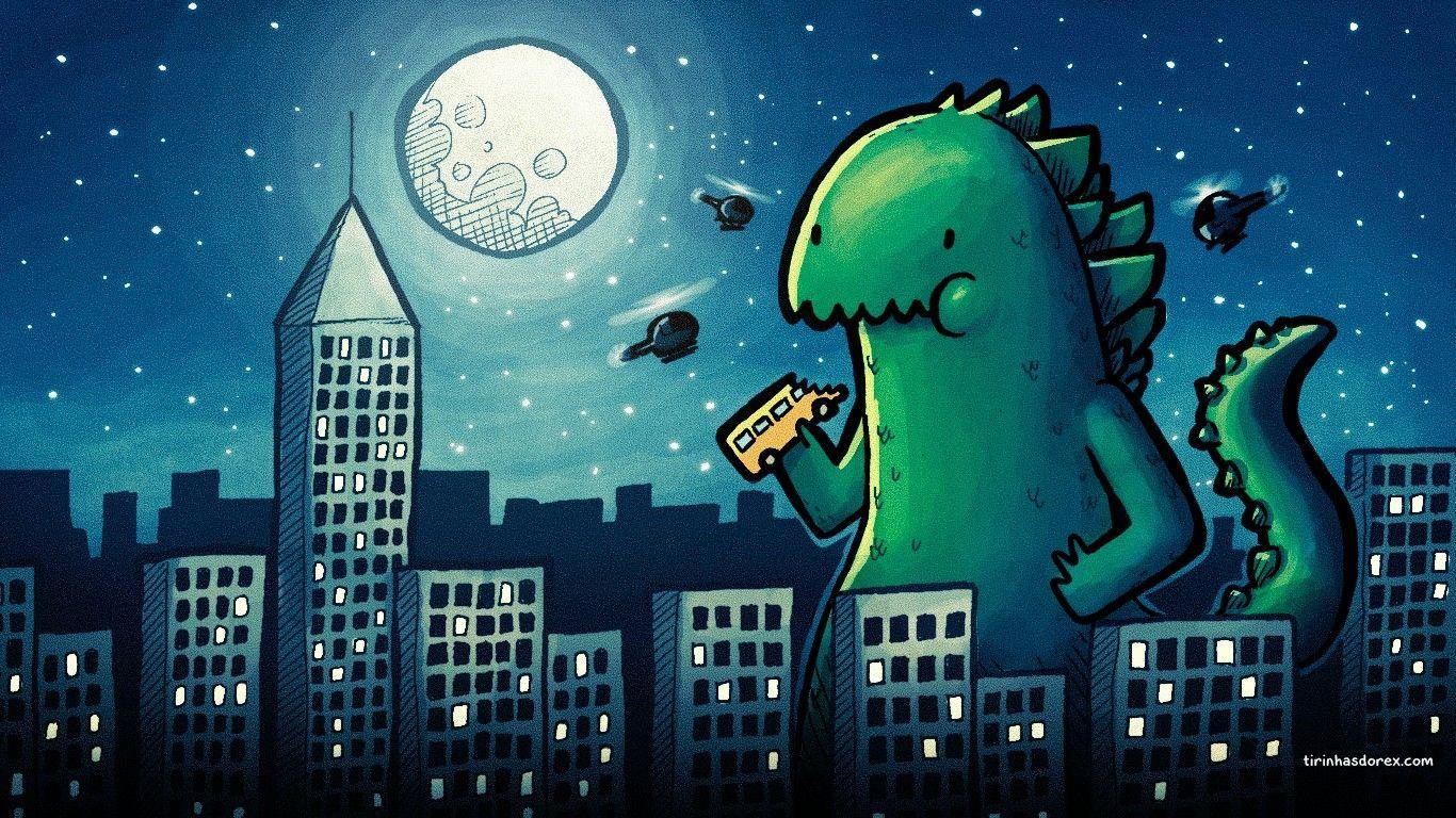 Wallpaper 1366x768 Px Cartoon Drawing Godzilla 1366x768 With Cartoon Drawing Wallpapers Em 2020 Papeis De Parede