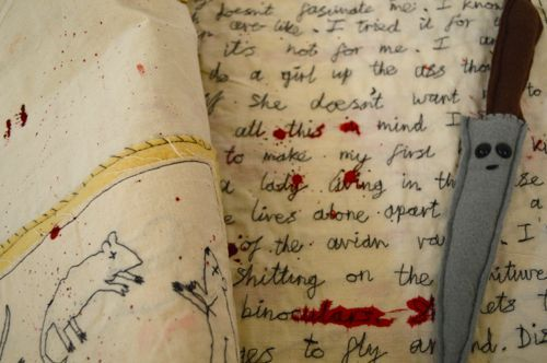 Hand stiched serial killer diary with knife!   Urban feltism - Lucy Sparrow  On show at Marburae Art Gallery cheshire  www.artinmacclesfield.co.uk