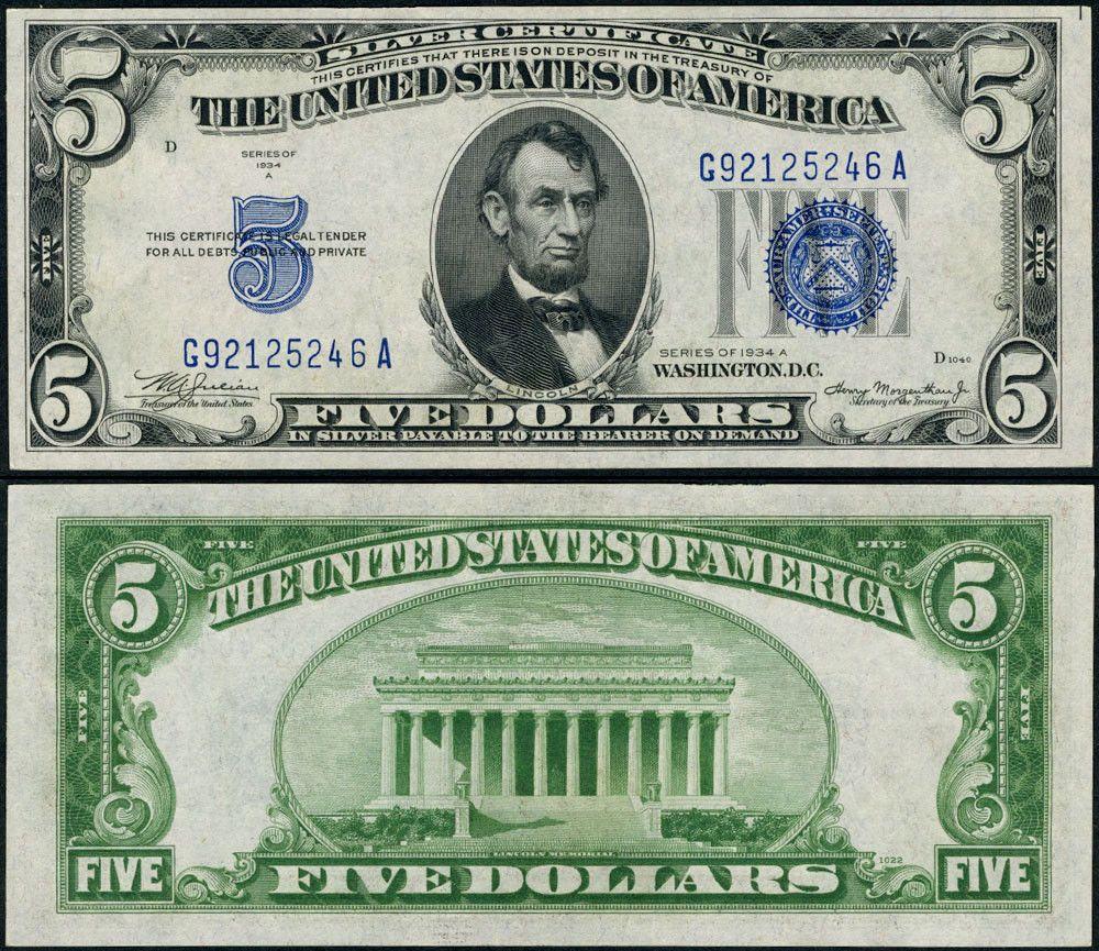 Fr 1651 5 1934 A Silver Certificate Non Mule G A Block Choice Cu