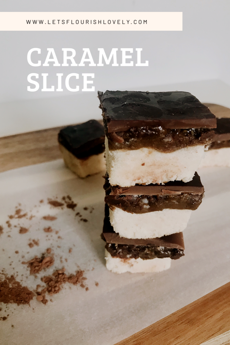 The most decadent caramel slice you'll ever eat! This recipe is gluten free, dairy free, refined suagr free ans Paleo. It's a great healthy snack for school lunches or work. #paleodessert #healthyrecipe #paleodessert