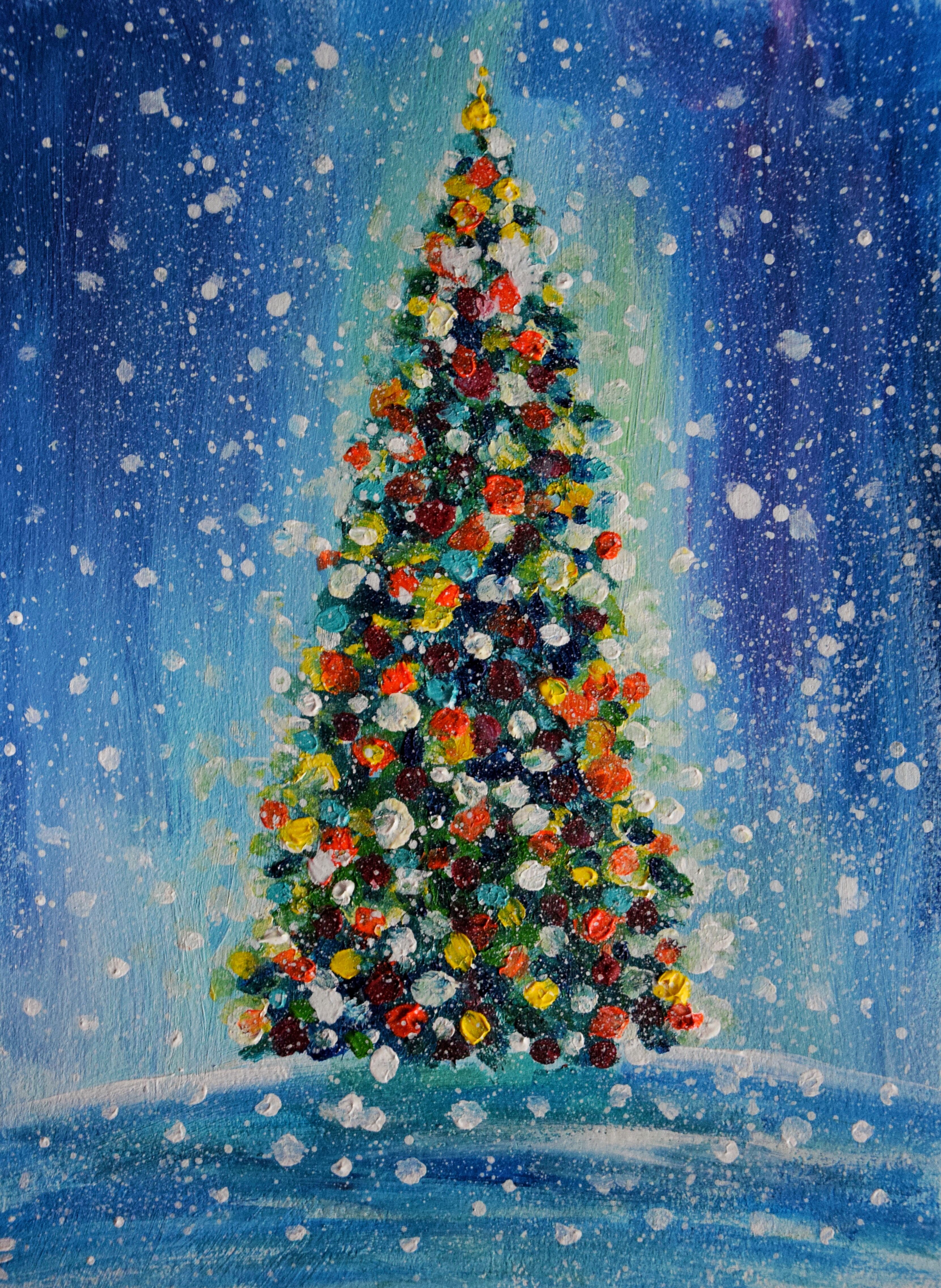 Christmas Tree Original Acrylic Painting New Year Pine Tree Picture Winter Snow Landscape Tree Painting Christmas Art Acrylic Painting On Paper