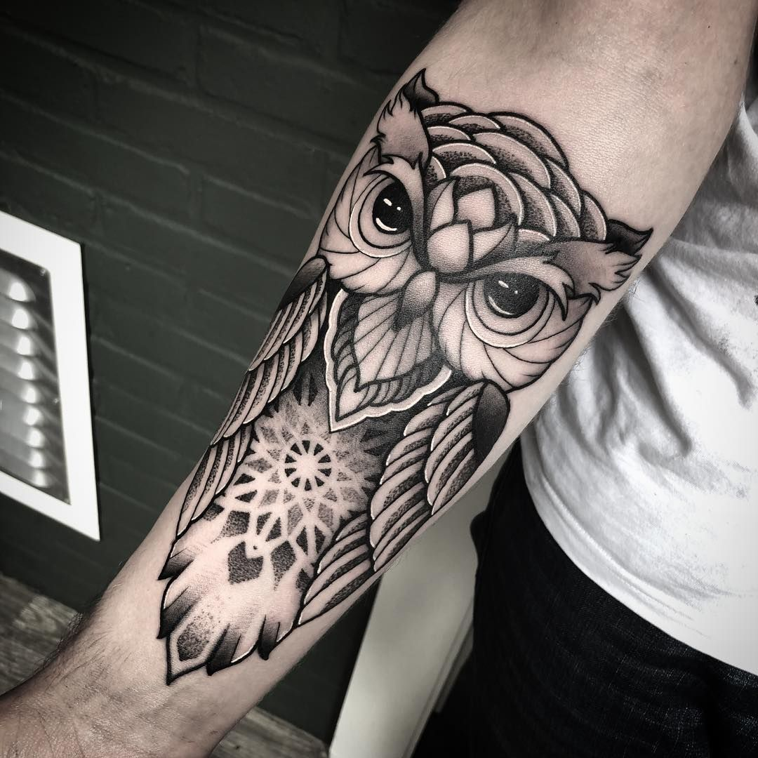 Today S Fun Owl Owltattoo Ornamental Ornamentaltattoo Dotworktattoo Dotwork Pointilism Blackwork Blackworktatto Owl Forearm Tattoo Tattoos Owl Tattoo