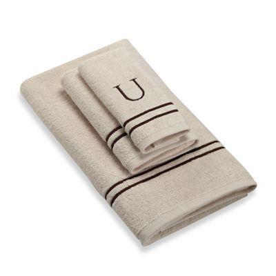 Avanti Monogram Block Letter U Bath Towel In Ivory Ivory Mocha U