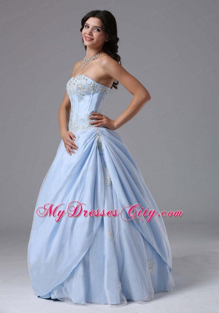 Appliques A-line Sweetheart Light Blue Prom Gowns for Women