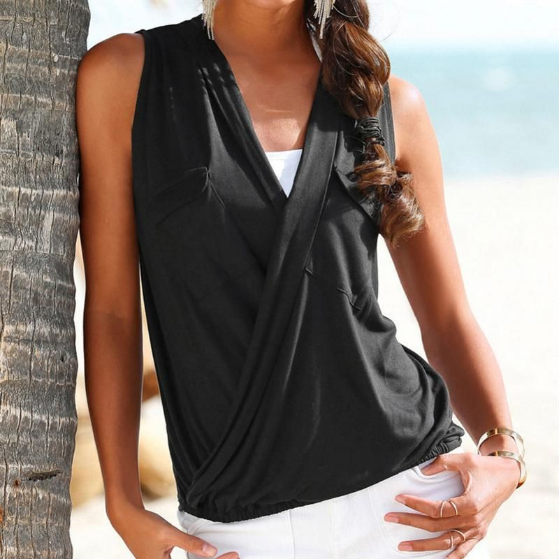 3abac6b25de048 Fashion 2018 Hot Summer Women Vest Top Sleeveless Patch Pocket Blouse  Casual Tank Tops T-Shirt Cover up Femme Blusas ONLY FOR US 7.30