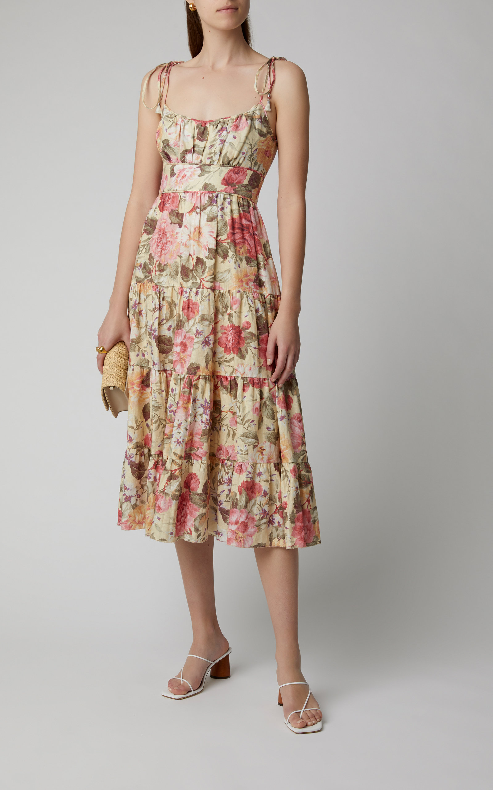 Click Product To Zoom In 2021 Country Chic Dresses Zimmerman Dress Linen Midi Dress [ 2560 x 1598 Pixel ]