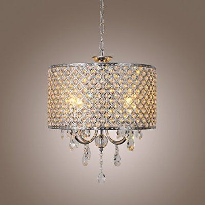 LightInTheBox Modern Chandeliers with 4 Lights Pendant Light with Crystal Drops in Round, Ceiling Light Fixture for Dining Room, Bedroom, Living Room