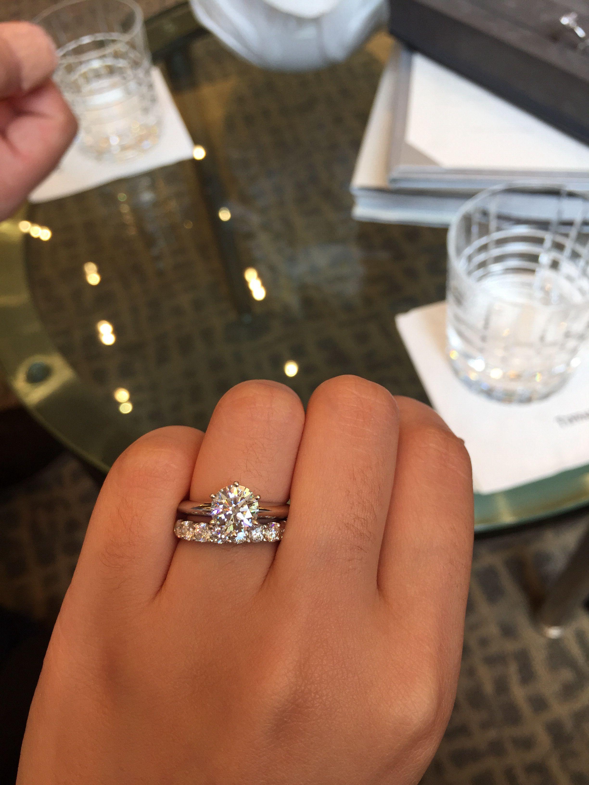 Dainty Ering With Chunky Wedding Band Diamon Wedding Band Half Eternity Wedding Band Dainty Engagement Rings