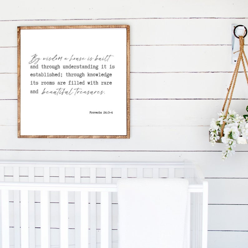 By Wisdom A House Is Builtfarmhouse Style Sign Scripture Etsy Scripture Wall Art Faith Based Art Affordable Wall Art