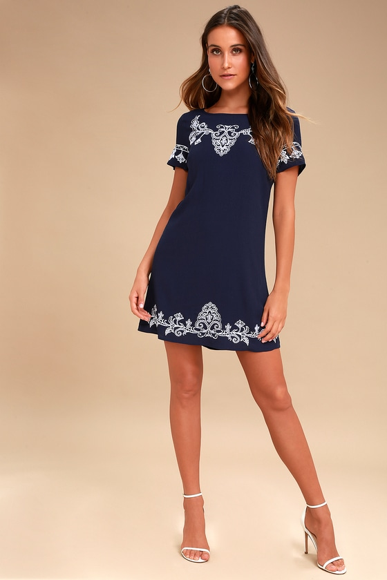 8b0fbb97ce48 Lulus | Tale to Tell White and Navy Blue Embroidered Shift Dress | Size  X-Large | 100% Polyester