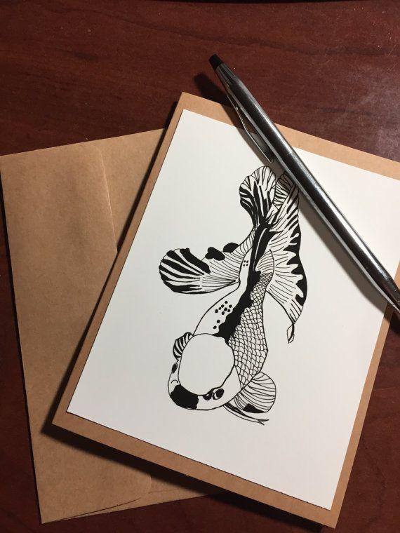 Koi Fish  Original Ink Drawing Print  Note by PinkPolishDesign