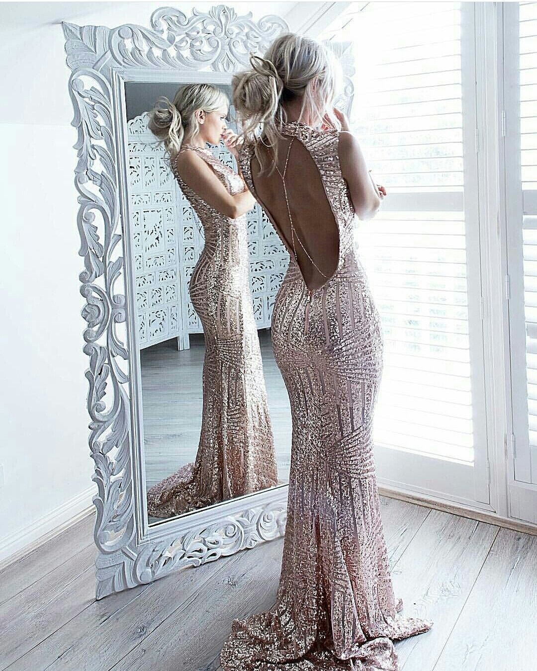 Sequins Sparkling Sexy Sleeveless Sheath Open-Back High-Neck Prom Dress  sold by olesa wedding shop. Shop more products from olesa wedding shop on  Storenvy bc854eafc833