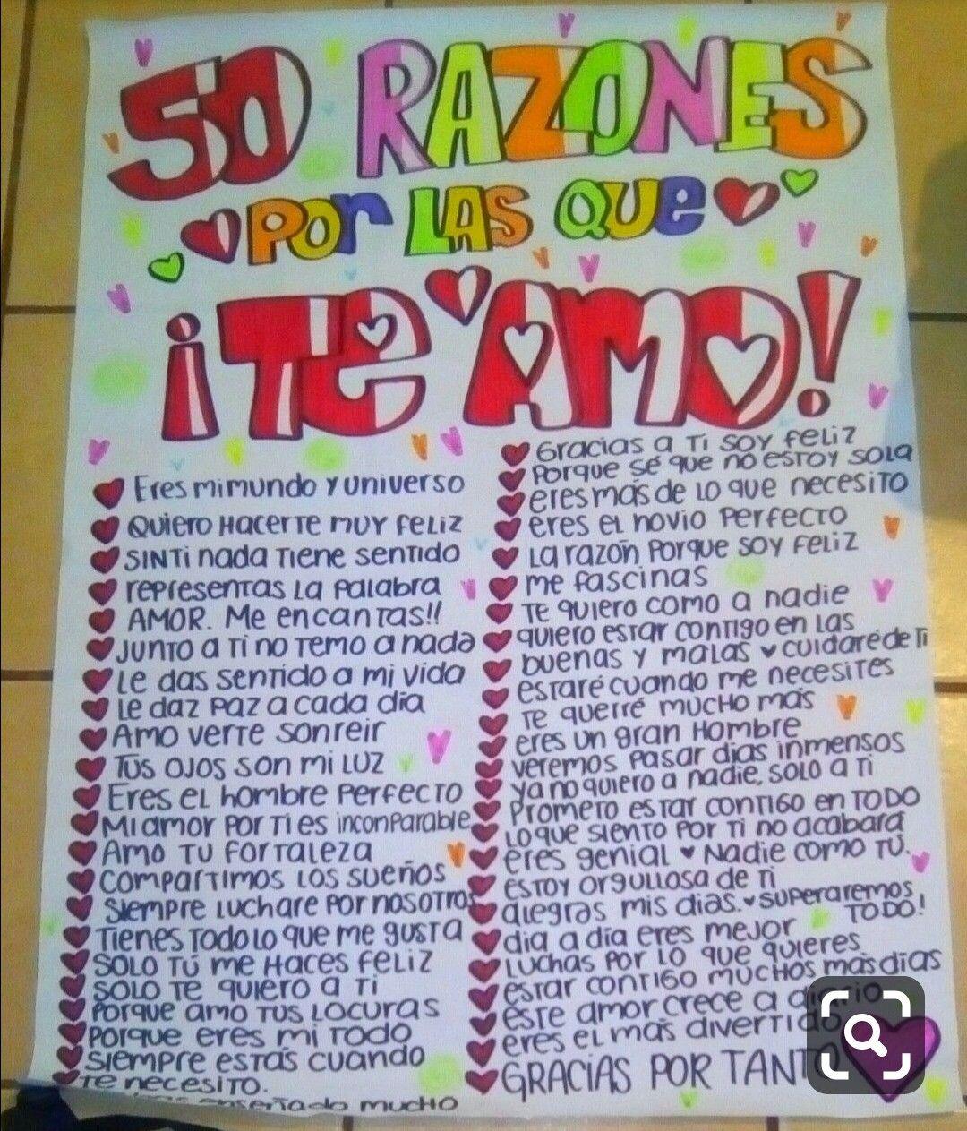Razones Para Amar A Un Chico Regalos Para Mi Novio Regalos Bonitos Para Mi Novio Carta De Amor Manualidades