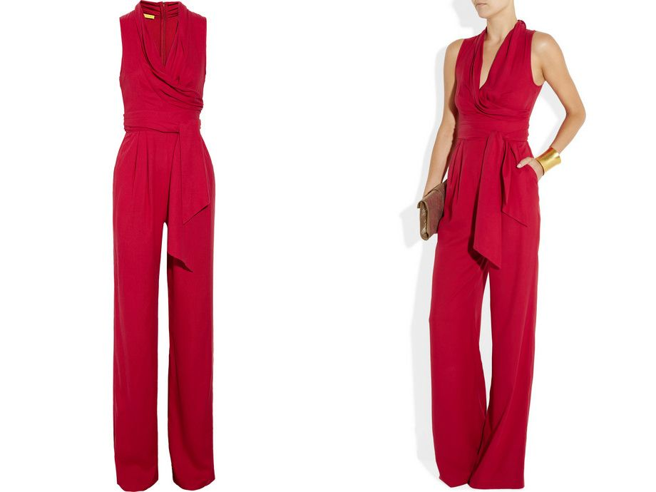 women's jumpsuits dressy | Catherine Malandrino Belted washed-silk ...