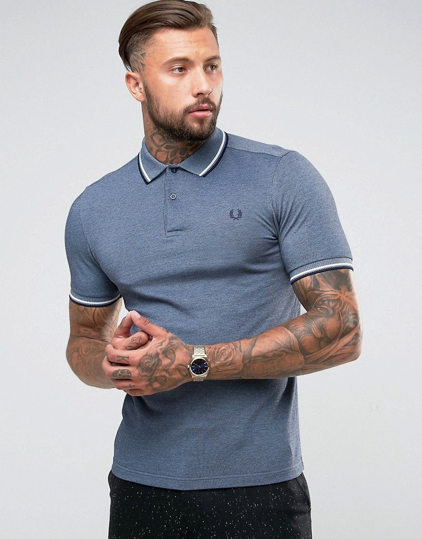 c85ec2549 Fred Perry Slim Fit 2 Color Tipped Oxford Weave Polo In Navy - Navy ...