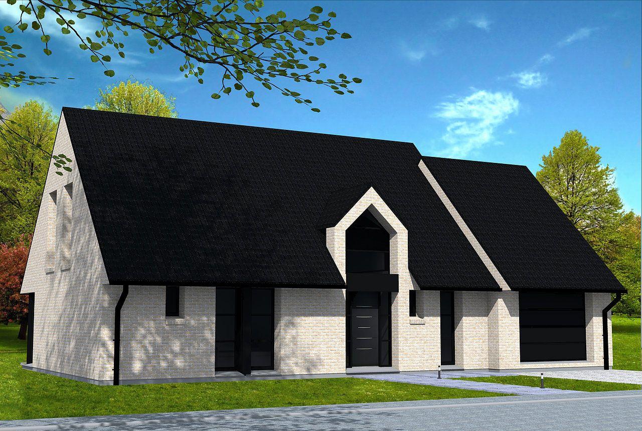 Maison moderne en briques jaunes et toiture 2 pans en for Briquette de facade prix