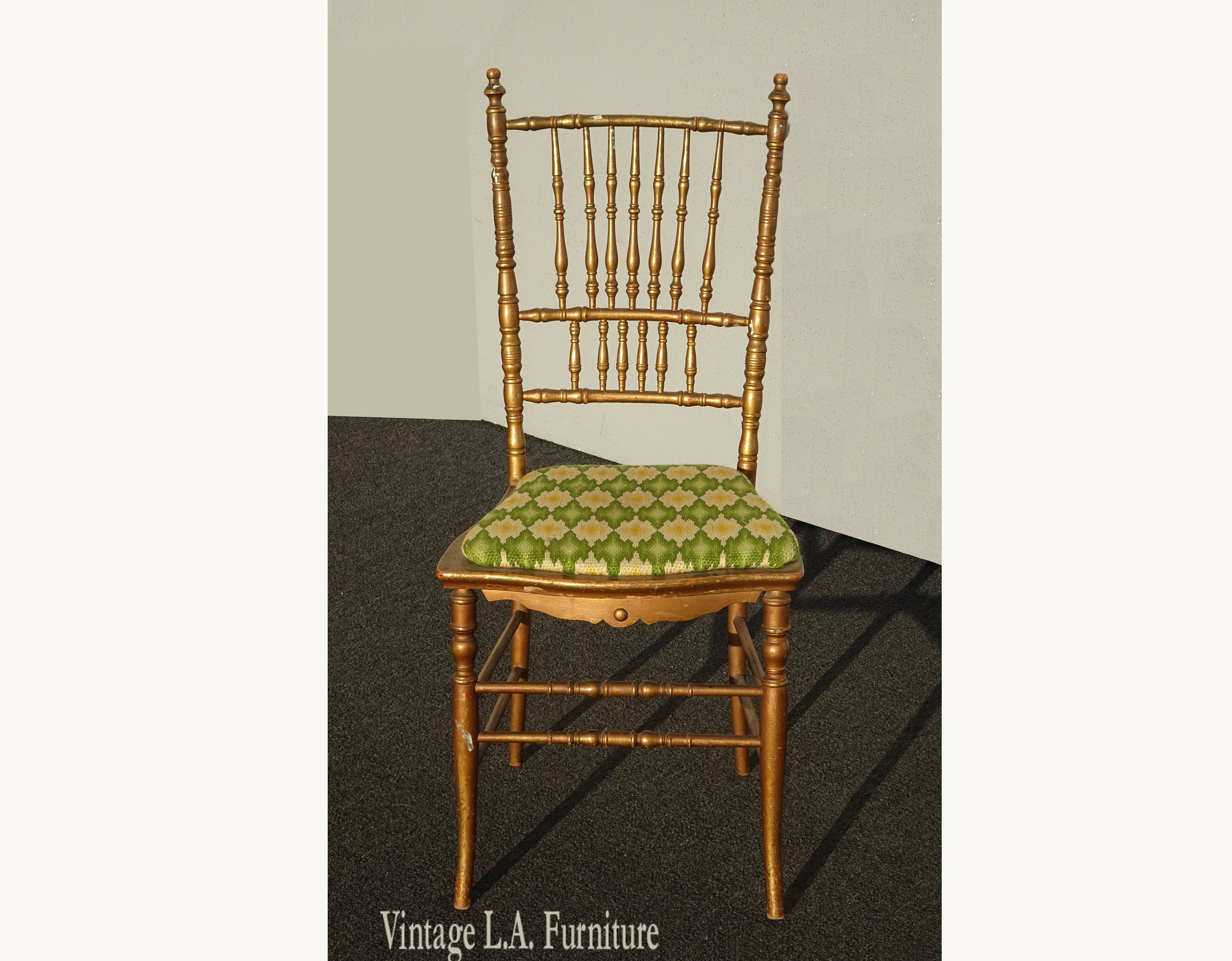 Vintage Mid Century Gold Vanity Chair W Spindle Backrest French Country As Is In 2020 Vanity Chair Home Decor Decor