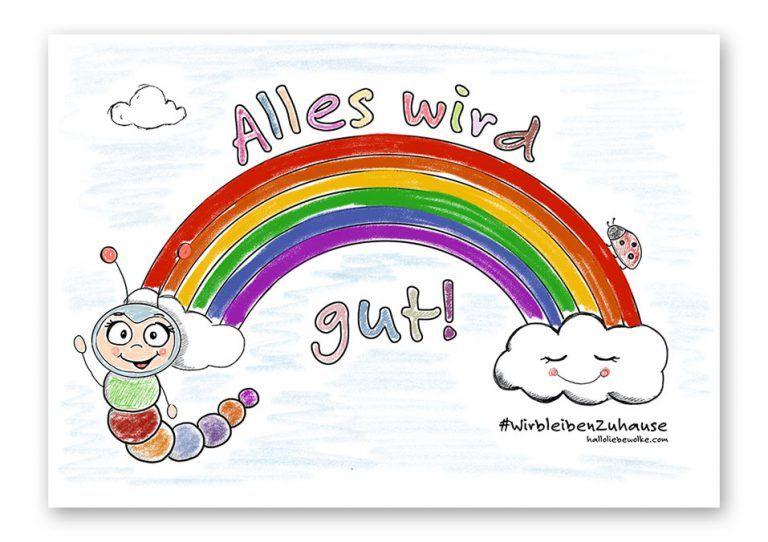 Alles wird gut - das Regenbogen Ausmalbild von Wilma