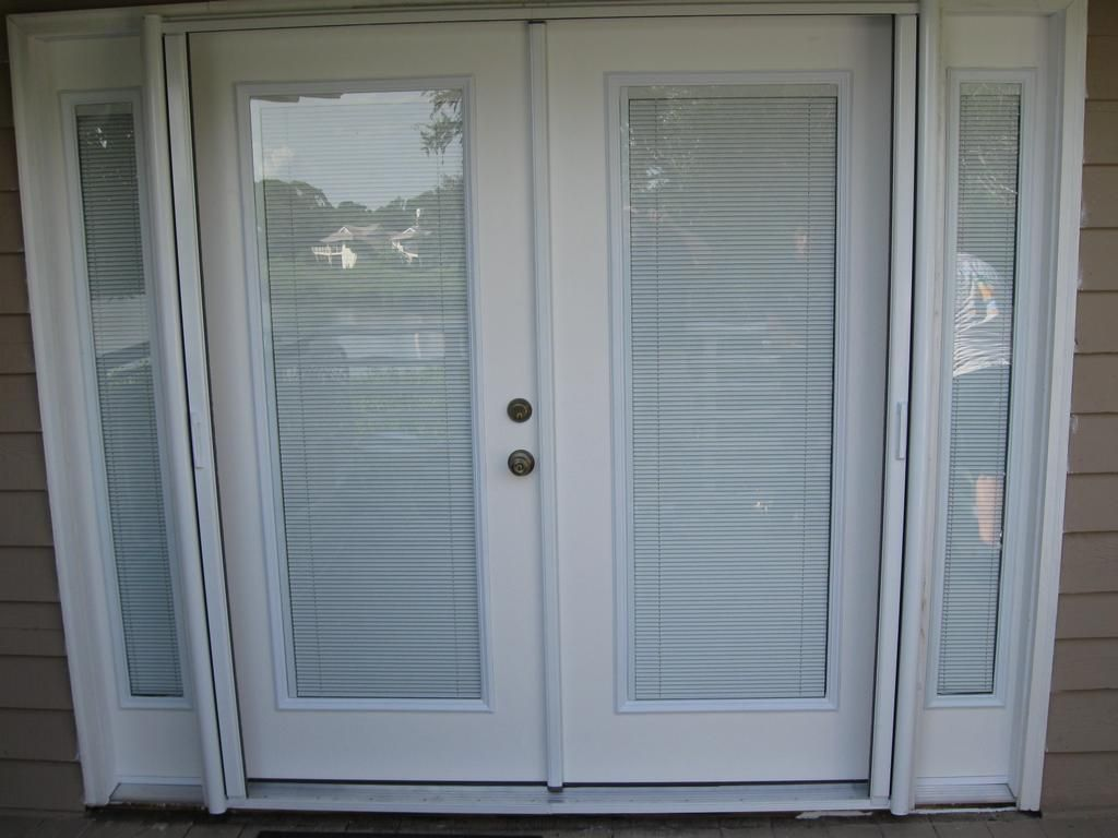 Door blinds between glass custom french doors w interior for Front door with opening window