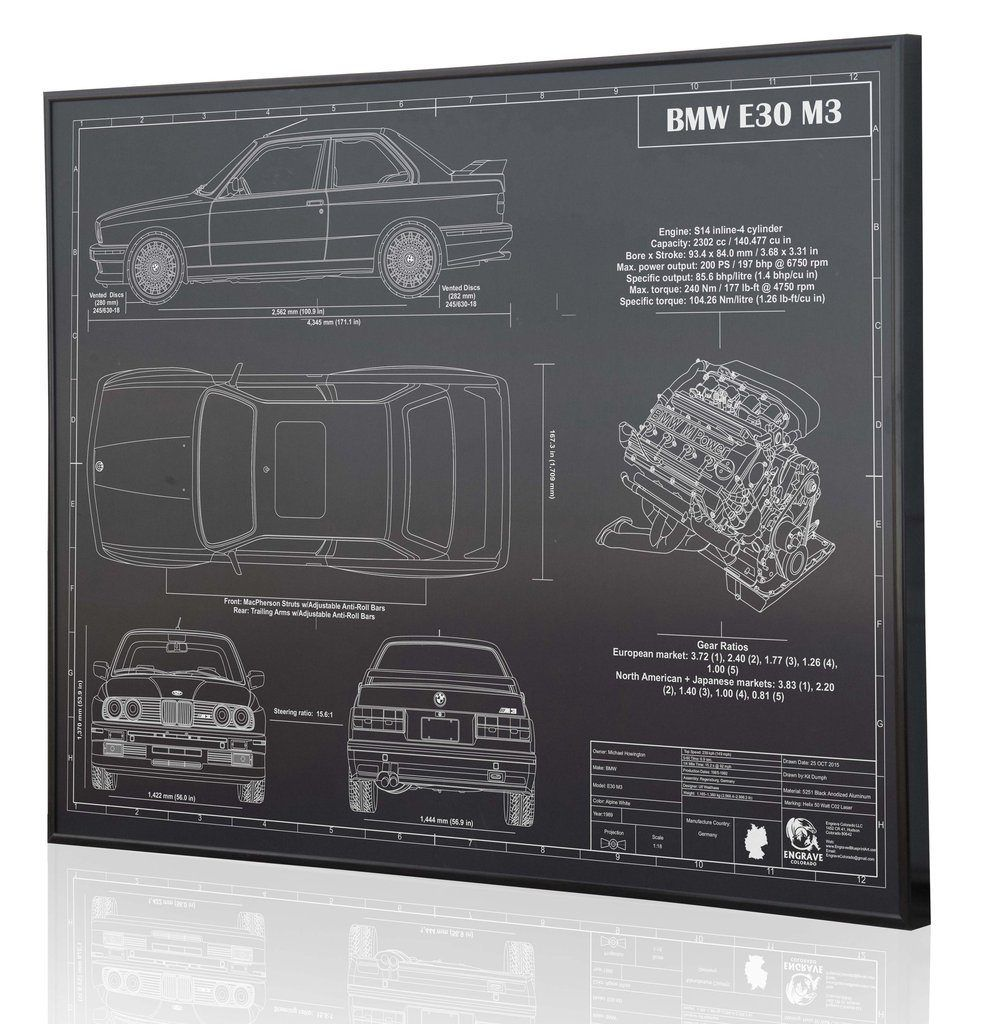 bmw e30 m3 by engraved blueprint art [ 995 x 1024 Pixel ]