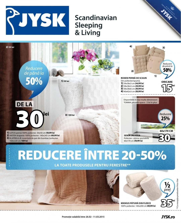 Oferta curenta: JYSK -Reducere intre 20-50% ...|Oferta JYSK  26.02-11.03.2015. Cu POC!Oferte reducem pe cat posibil utilizarea formatului clasic 'pe hartie'!
