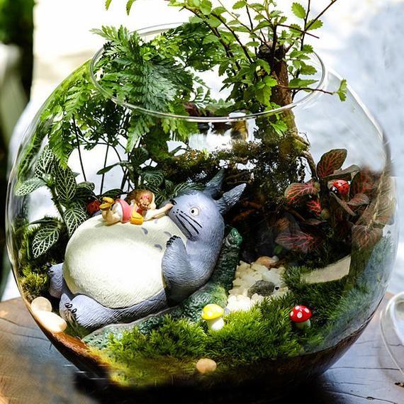 A set 5* Totoro Figurines , Girl Lay on Big Totoro , Miniature Ghibli Studio Mini Fairy Garden Supplies Succulent Terraium DIY Accessories #succulentterrarium
