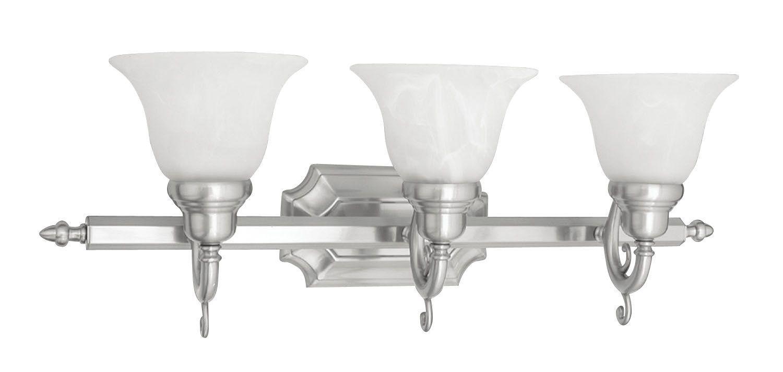 Photo of Livex Lighting 1283-91 Brushed Nickel French Regency 3 Light Bathroom Vanity Light – LightingShowplace.com