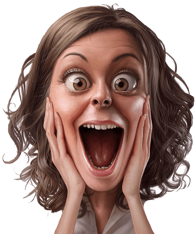Personajes Divertidos Surprise Face Black And White Cartoon Woman Face