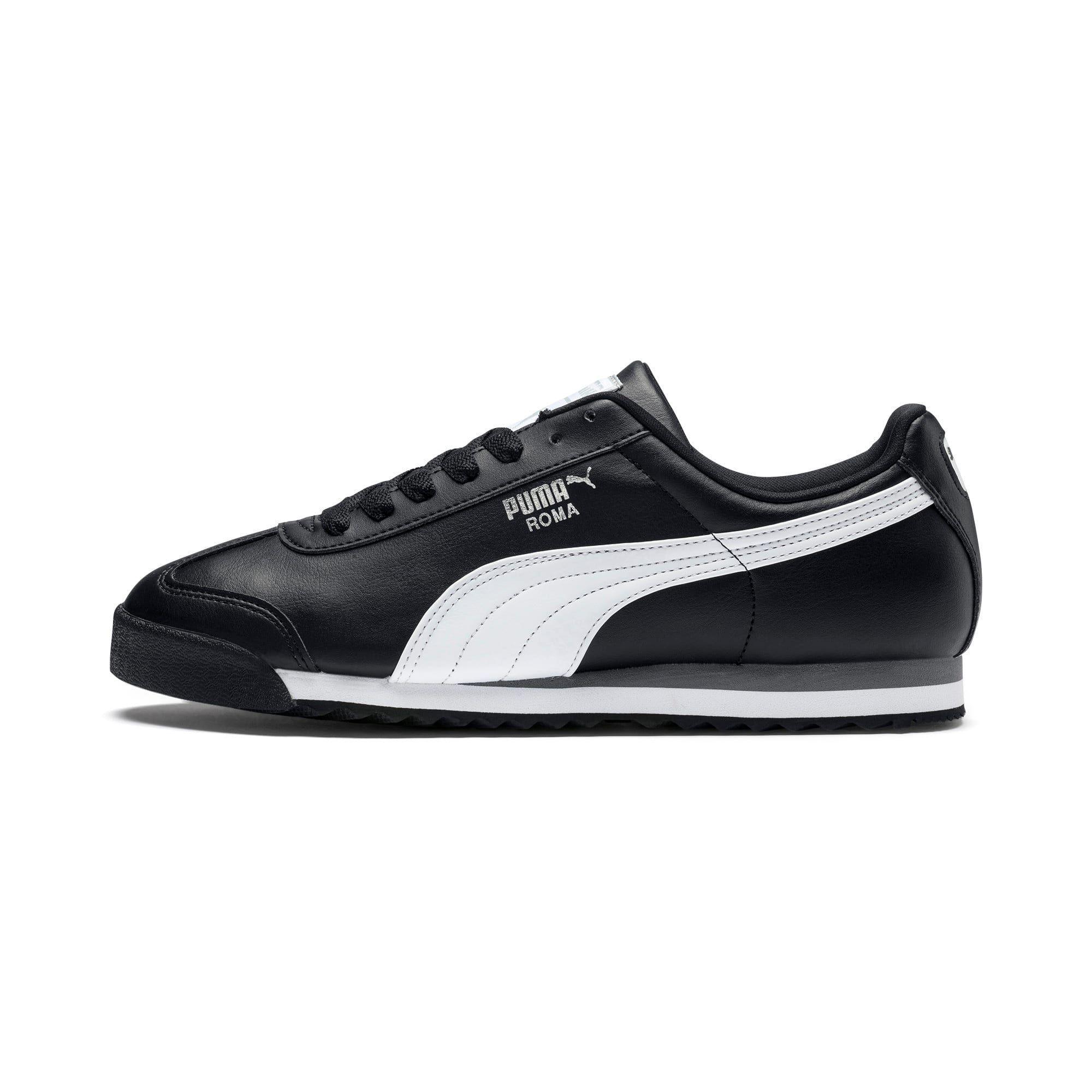 PUMA Chaussure Basket Roma Basic pour Homme, Noir/Blanc/Argent, Taille 40.5