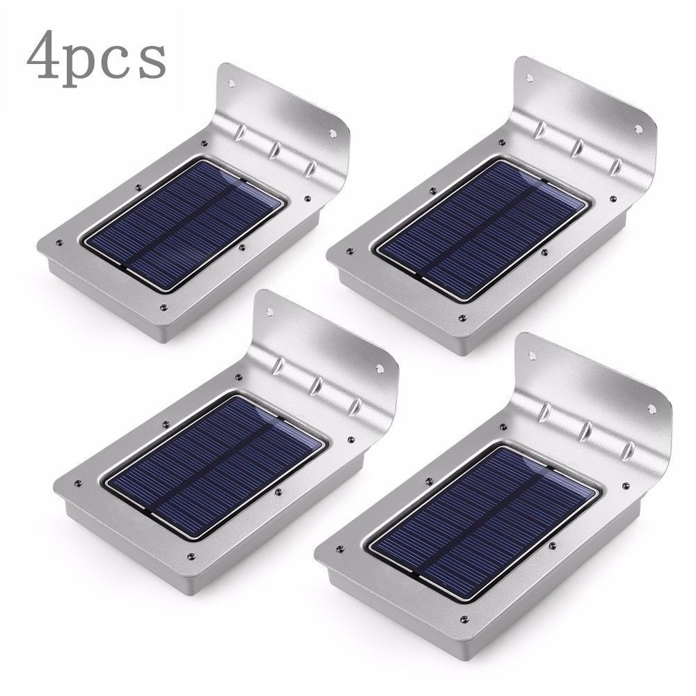 4pcs Led Solar Light 16 Outdoor Wireless Powered Pir Panels Diagram Installation Driveway Gate Motion Sensor Lamp Wall Security Lights Garden In Lamps From
