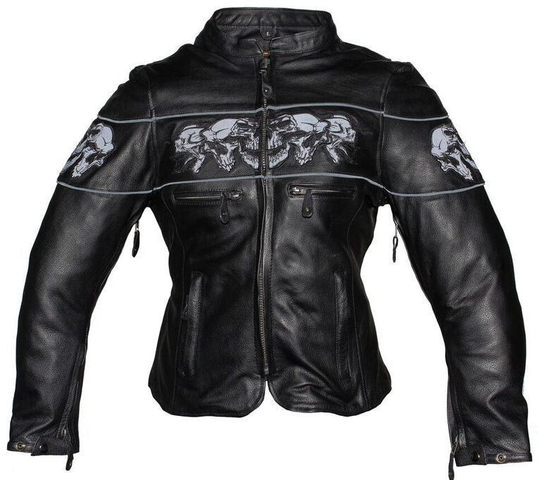 c8c7c5a8c WOMEN'S REFLECTIVE SKULL MOTORCYCLE LEATHER SCOOTER JACKET WITH VENTS NEW  BLACK #Dream