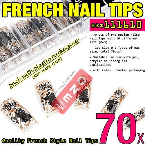 70x Acrylic False Nail Tips French Tips Extensions Animal Print Design  $3.50 #nail #nailtips #manicure @one2sell