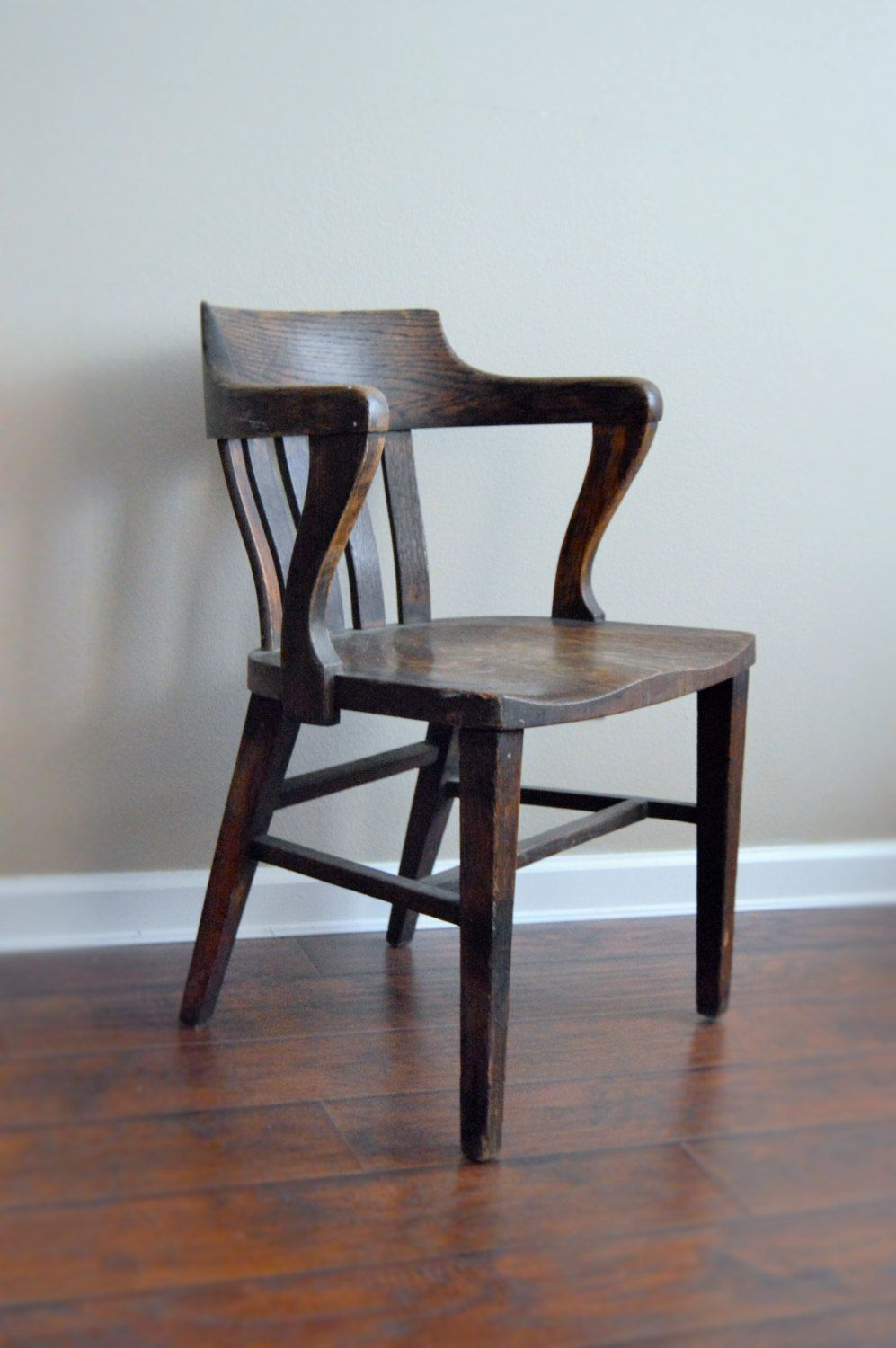 Bankers chair leather - Antique Bankers Chair Antique Oak Office Jury Court Vintage Office Chair Library Primitive Rustic Chair Accent Chair Desk Chair